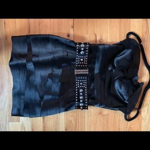 bebe Dresses - BEBE Black Strapless Mini Dress with Studded Belt